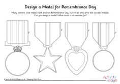 Medals are worn with pride on Remembrance Day. What sort of medal would the kids design, and what would they award it for? This printable provides four traditional medal designs to get them started. Memorial Day Activities, Remembrance Day Activities, Veterans Day Activities, Sunday Activities, Science Activities, Toddler Activities, Remembrance Day Posters, Remembrance Day Poppy, Preschool Crafts