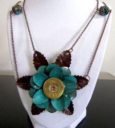 Shot Gun Shell Bullet Rose Necklace. $48.50, via Etsy.