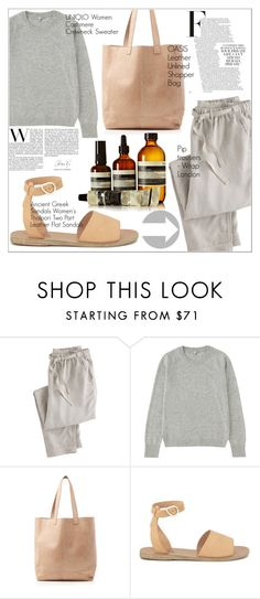 """Untitled #1405"" by martso ❤ liked on Polyvore featuring Wrap, Uniqlo, Oasis, Ancient Greek Sandals and Aesop"