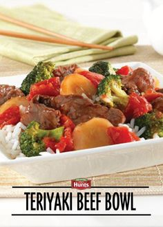 This Teriyaki Beef Bowl combines beef sirloin steak with broccoli, tomatoes and water chestnuts in a tasty teriyaki sauce. It's served over fluffy white rice, to create a satisfying meal!