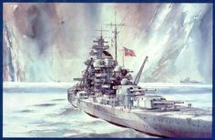 """Ian Marshall's """"Ice Queen"""" -- German battleship Tirpitz, exiled to Norway for most of World War II."""