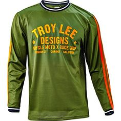 98547ae75 Amazon.com  Troy Lee Designs Super Retro Men s BMX Bike Jersey - Army Green    Small  Clothing