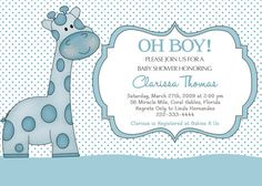 Baby Giraffe Baby Shower Invitation You Print by PinkSkyPrintables, $11.00
