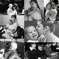 Audrey Hepburn holding kids. (via:adoringaudrey)