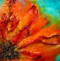 """Fire Poppy I"" by Emma Ashby in encaustic, 2016."