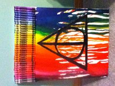 Harry Potter & the Deathly Hallows melted crayon art