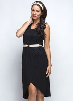 Classic black dress with easy #breastfeeding access and fashionable tulip style skirt $104.95 #breastfeedingfashion #nursingdress