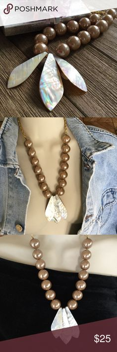 """Mother of Pearl Necklace, Large Champagne Balls Shell Necklace  Sophisticated Jewelry...Causal...or Party Perfect 💖   Length: 21"""" Closure: Lobster Claw Extender: 3"""" Shells: 3""""  .......Great Gift Idea......  No Outfit is Complete without Jewelry 💋 Handcrafted Jewelry Necklaces"""