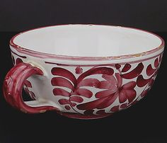 Italian Ceramic Large Tea Cup Small Planter Vintage Hand painted Glazed Red White Floral leaves design Handled Heavy weight for size Recommend use as decor display or planter Beautiful vintage collectible display & perfect size for window sill violet succulent or other shallow root plant ! https://www.facebook.com/groups/390292477844557/