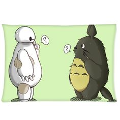 "Totoro and Baymax Decorative Standard Size Pillow Case 20""x26"" 