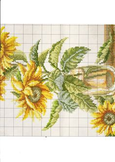 Cross-stitch Sunflowers in a Vase, part 2.. color chart on part 1