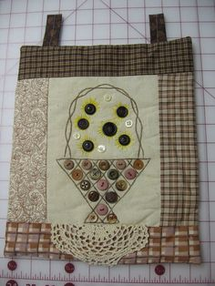 Primitive Small Wall Hangings Button Basket Welcome by Ambieanay, $12.00