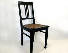Stuhl schwarz mit Geflecht vintage Küchenstuhl  von Schlüter Kunst und Design - Stühle, Kommoden, Regale, Modeschmuck auf DaWanda.com