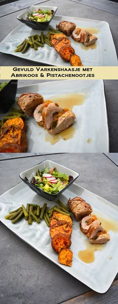 Varkenshaasje gevuld met Abrikoos en Pistachenootjes. Zoete Aardappel uit de oven en Sperzieboontjes. #Recept #Varkenshaas #hoofdgerecht #OrcaCool