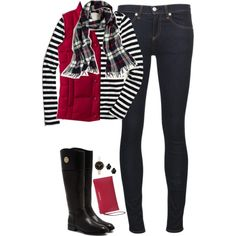 Red, Black & White by steffiestaffie on Polyvore featuring J.Crew, Lands' End, rag & bone/JEAN, Tory Burch, MICHAEL Michael Kors, Marc by Marc Jacobs and Kendra Scott
