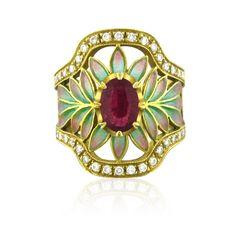 Ring | Masriera.  18 kt yellow Gold, Diamond, Ruby,  Plique A Jour Enamel