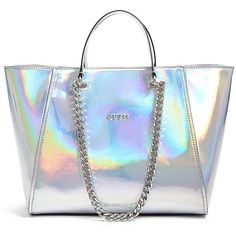 GUESS Nikki Metallic Chain Tote ($110) ❤ liked on Polyvore featuring bags, handbags, tote bags, purses, silver, blue leather tote bag, blue leather handbag, zip top tote, blue leather tote and genuine leather handbags