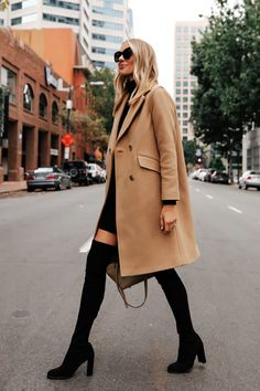 Fashion Jackson Wearing Everlane Camel Coat Stuart Weitzman Black Over the Knee Boots Winter Date Outfits, Night Outfits, Fashion Outfits, Trendy Outfits, Mom Fashion, Denim Fashion, Work Outfits, Sneakers Fashion, Stuart Weitzman