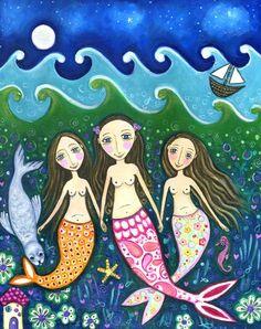 Mermaid print folk art girls room art three by LindyLonghurst, 3 sisters