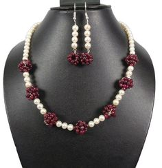 """Limited Edition~Natural Ruby Pearl Necklace Earrings Set~Christmas Gift~20"""" #GemsIndiaTopRatedPowerSeller5RatingeBay #Beaded"""