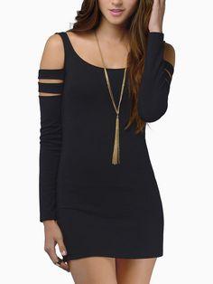 robe col rond découpée moulante - noir  11.64