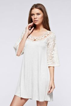 Laced Bell Sleeve Solid Tunic Dress - Ivory