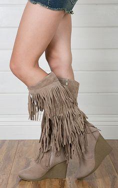 Elyssa Fringe Wedge Knee Boots SAND $33