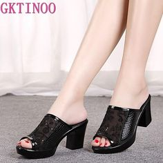 GKTINOO 2019 summer shoes platform Bling high heels sandals soft leather gauze breathable women slippers large size Outfit Accessories From Touchy Style Womens Summer Shoes, Womens High Heels, Thick Heels Pumps, Shoes Heels, Fashion Sandals, Womens Slippers, Casual Shoes, Espadrilles, Bling Bling