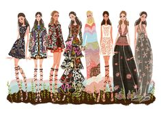 Illustration.Files: Valentino S/S 2015 Fashion Illustration by Minjee Kang | Draw A Dot.