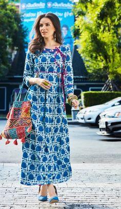 #blue #digital #printdesign rayon #kurti   rayon dresses rayon printed   full sleeves   fancy wear   party wear