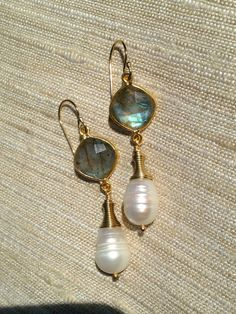 Labradorite and  Pearl  Gold Earrings Dangle by trebelladallas, $42.00 Available on Etsy!