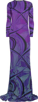 ShopStyle: Emilio Pucci Printed jersey fishtail gown