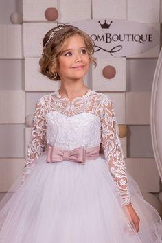 Encaje blanco niña vestido de flores  cumpleaños de Dama de