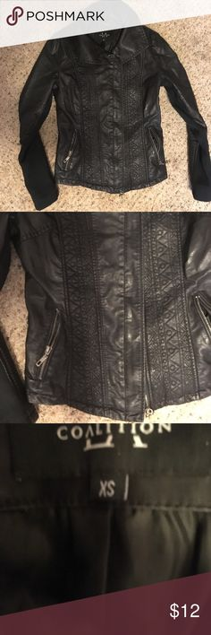 Black faux leather moto jacket with knit sleeves Super cute faux leather black moto jacket. Princess seaming at the back for shape and cute embroidery stitching down the front for added detail. Sleeves are faux leather on top and knit underneath for ease of motion. Zippered front pockets. 100% polyester. Size XS but could probably work for a small too (I'm usually a medium and it's not too snug on me). Used condition but no visible signs of wear or imperfections, plenty of life left Jackets…