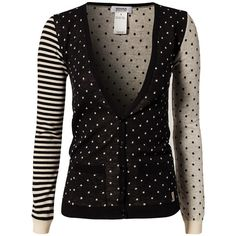 Sonia By Sonia Rykiel Cardigan With Dots (2,335 GTQ) ❤ liked on Polyvore featuring tops, cardigans, black, sweaters, jumpers & cardigans, womens-fashion, button top, stretch top, pocket cardigan and sonia by sonia rykiel