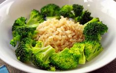 1/2 cup of brown rice and 1 cup broccoli (1 serving of grains and 2 servings of fruit and vegetables) - this is one of the few ways I eat broccoli. It's healthy and delicious. :) - 1 serving of each would be 1/2 cup of brown rice and 1/2 cup broccoli