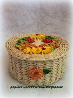 To co robię i co lubię: Jesienny koszyk z papierowej wikliny z quillingowym wieczkiem