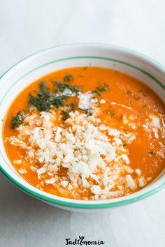 Tomato soup with cauliflower rice Tomato Soup, Cauliflower Rice, Avocado, Vegan Recipes, Tasty, Diet, Cooking, Ethnic Recipes, Rice Soup
