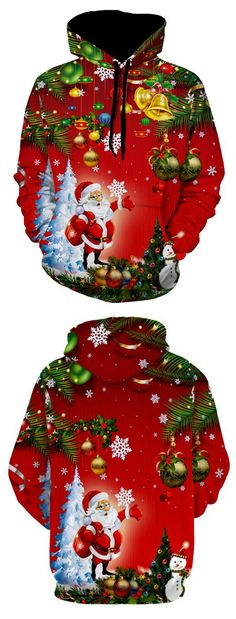 A drawstring pullover hoodie featuring a kangaroo pocket, patterned with santa clause, jingle bell, snowflake,christmas tree, and snowman, and so on. Without ever fading, cracking, peeling or flaking-using dye-sublimation that allows clothing insanely vibrant. Merry Christmas! Best xmas gift to your family and friends,making your go with a fashionable and special holiday.