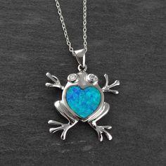 FashionJunkie4Life - Blue Opal Frog Necklace - 925 Sterling Silver, $28.99 (http://www.fashionjunkie4life.com/blue-opal-frog-necklace-925-sterling-silver/)