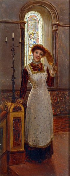 Charles Frederick Lowcock – Lady Holding A Fan Before A Stained Glass Window - Mitchell Studio Gallery Stained Glass Windows, Fan, Studio, Gallery, Leaded Glass Windows, Roof Rack, Stained Glass Panels, Stained Glass, Studios