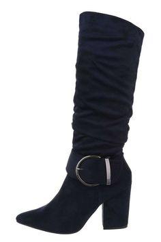 Dámske tmavomodré špicaté semišové čižmy s hrubým opätkom a striebornou prackou na boku. Wedges, Boots, Outfits, Fashion, Crotch Boots, Clothes, Moda, Suits, Heeled Boots