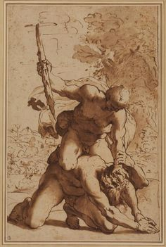 Annibale Carracci (1560 - 1609) after Agostino Carracci (1557 - 1602), Hercules and Cacus (15xx, pen, ink and watercolour on paper).