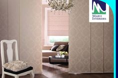 Panel track blinds, also known as sliding window panels or panel tracks, Marvi Interiors collections are perfect for covering large windows and sliding doors. www.marviinteriors.com