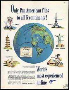 1948 Pan Am Airline Clipper S America Europe Asia Africa Alaska Australia map ad Vintage Advertisements, Vintage Ads, Vintage Airline, Travel Ads, Air Travel, Pan Am, Saturday Evening Post, Australia Map, Vintage Travel Posters