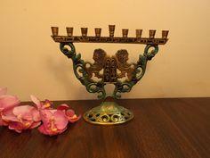 Delightful brass Hanuka menorah Israel , candle holders,Chanukah,Hanukkah. Judaica. RARE. Aries on menorah.10 Commandments.gift. Gold/green. by HuntWithJoy on Etsy