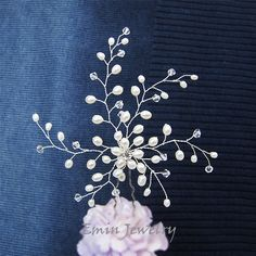 Large Bridal Hair Pin Wedding Hair Accessories by adriajewelry