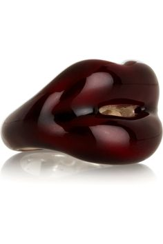 Hot Lips Ring by Solange Azagury-Partridge: Made of laquered silver. Also avialable in red. £990  #Jewelry  #Ring #Hot_Lips_Ring #Solange_Azagury_Partridge