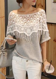 Grey Boat Neck Lace Patchwork Blouse,  free shipping worldwide at rosewe.com