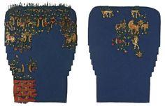 Fragments d'une paire de jambières, Antinoé, fouilles Albert Gayet, onzième ou douzième campagne, 1906 ou 1907, milieu du VIe siècle-milieu du VIIe siècle. MT 28929.13. Don Guimet, 1907. © Musée des Tissus, Pierre Verrier
